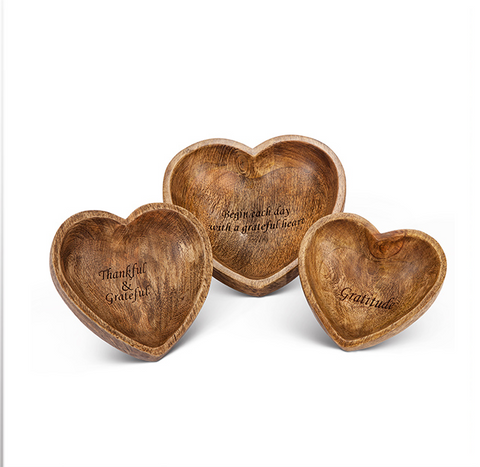 Set of 3, Gratitude Heart Bowls