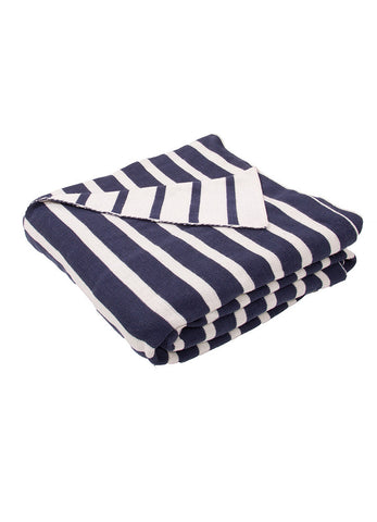 Trinity Throw - Insignia Blue & White Gray
