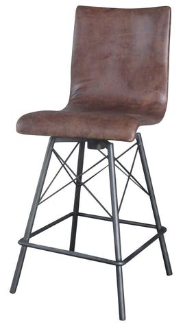 Irondale Diaw Barstool & Counterstool-Brogan Brown/Waxed Black