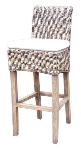 Grass Roots Banana Leaf Barstool & Counterstool W/Cushion-Grey Wash