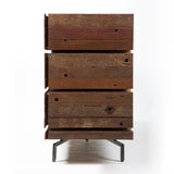 Hand-crafted reclaimed wood dresser by Thomas Bina side view