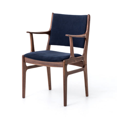 Bina Arm Chair & Side Chair-Dark Blue Canvas/Walnut
