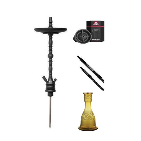 Starbuzz American Ultimate Hookah Bundle - Black/Black (Aluminium Hose)