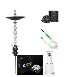 Starbuzz American Ultimate Hookah Bundle with Coal Burner - White/Black