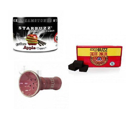 Starbuzz Steam Stone with Ceramic Bowl and 15pcs Coconut Charcoal