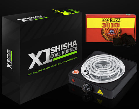 Shishagear X1 Coil Burner with Starbuzz 15pc Cocobuzz Charcoal