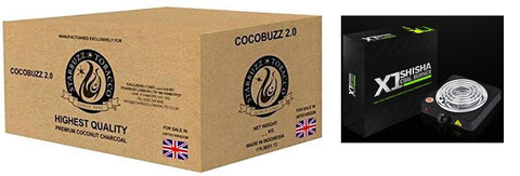 Starbuzz Cocobuzz 2.0 Natural Coconut Charcoal Lounge Pack (10kg) with X1 Coal Burner