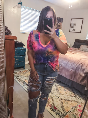 Maeve V-Neck Tie Dye Top