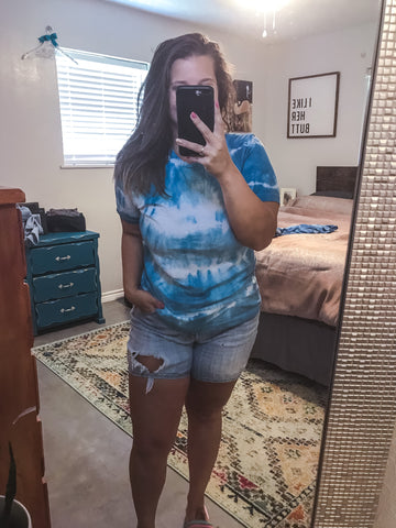 MEDIUM Deep Aqua Tie Dye Top