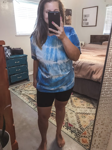 LARGE Blue/Navy Tie Dye Top