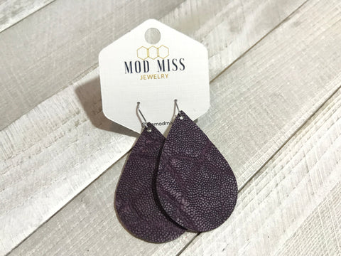 Plum Teardrop Leather Earrings