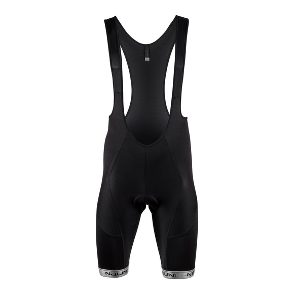 Nalini Marmo Bib Shorts - Black with Reflective Trim on Leg Cuffs 2021