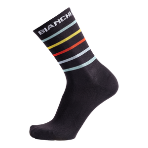 Bianchi-Milano Maiori Cycling Socks - Black/Multi Stripes