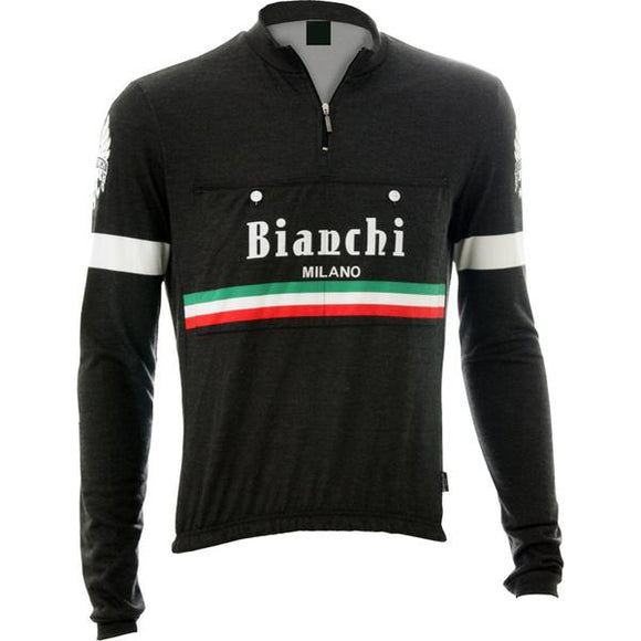 Bianchi-Milano Hiten Black Wool Long Sleeve Jersey (Italian Stripes)