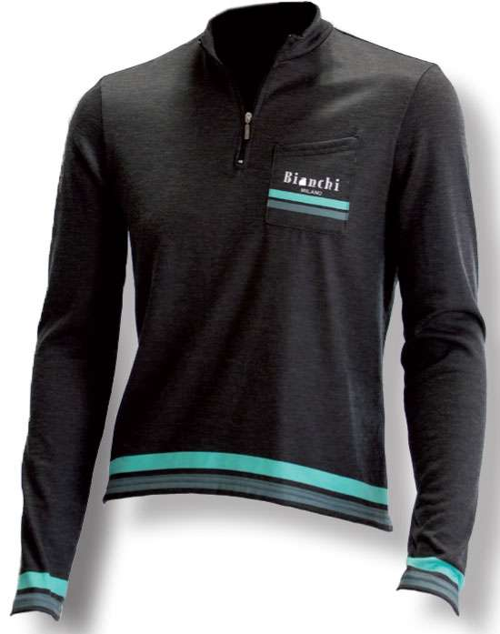 Bianchi-Milano LOGO Long Sleeve Grey Wool Jersey – Nalini USA eb6b16296