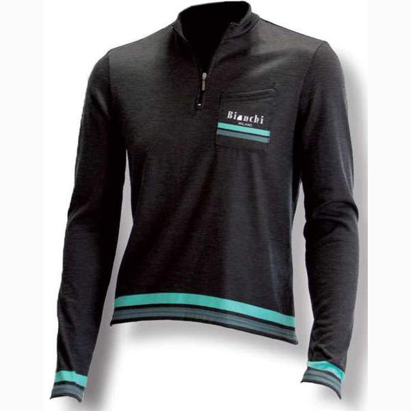 Bianchi-Milano LOGO Long Sleeve Grey Wool Jersey
