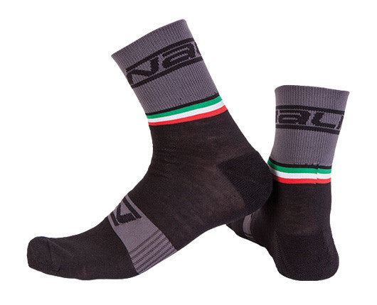 Nalini Wool Salita Cycling Socks - Black/Grey