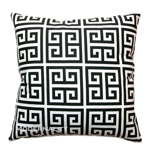 Towers Black and White Greek Key Throw Pillow Cover
