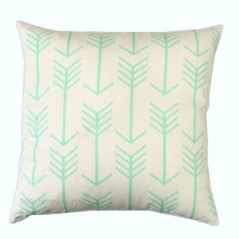 Arrows White and Mint Green Pillow Cover - Modernality Home Decor