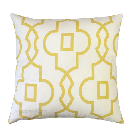 Bordeaux Saffron Yellow Trellis Throw Pillow Cover - Modernality Home Decor