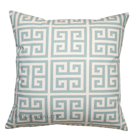 Towers Village Blue Greek Key Throw Pillow Cover