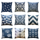 Sailor Small Anchor Premier Navy Blue Nautical Pillow