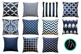 Dyed Solid Navy Blue Accent Pillow - Modernality Home Decor