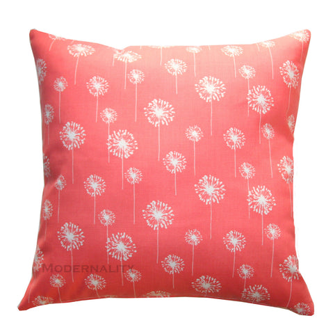 Small Dandelion Coral Accent Floral Pillows