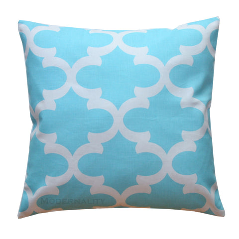 Fynn Regatta Sky Blue Moroccan Quatrefoil Pillow - Modernality Home Decor
