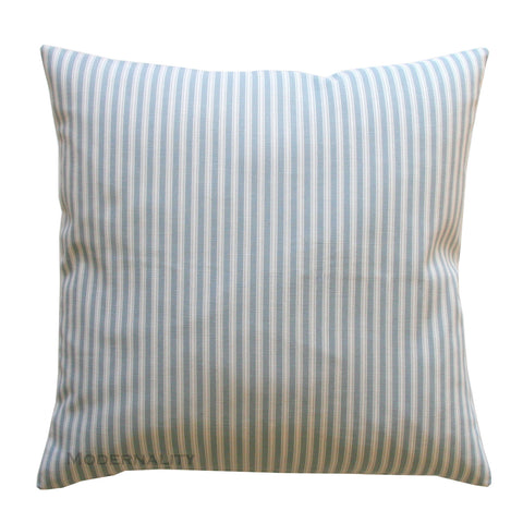 Polo Stripe Sail Blue Ticking Stripe Pillow Cover - Modernality Home Decor