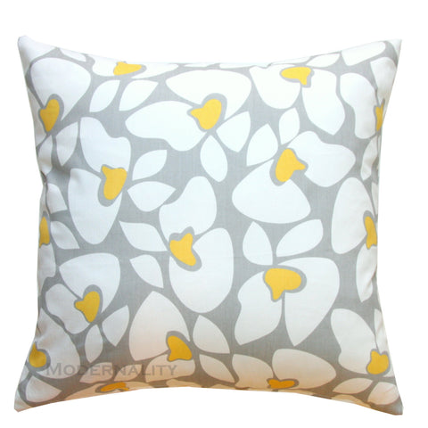 Helen Storm Grey and Corn Yellow Floral Throw Pillow - Modernality Home Decor