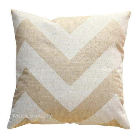 Zippy Beige Burlap Decorative Chevron Pillow