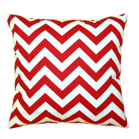 Zig Zag Lipstick Red Chevron Pillow - Modernality Home Decor