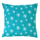 Small Dandelion Turquoise Modern Floral Pillow