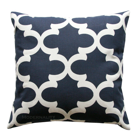 Fynn Navy Blue Moroccan Quatrefoil Pillow - Modernality Home Decor