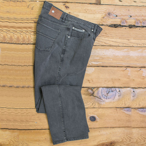 "ABBEY (Smoke)  5-pocket fashion denim jean - by ROAD - 32"" Inseam"
