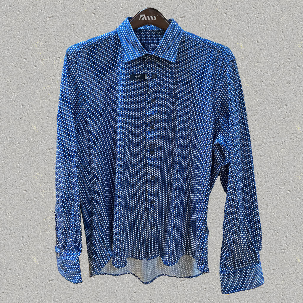 Blue Diamond Pattern Long Sleeve Shirt