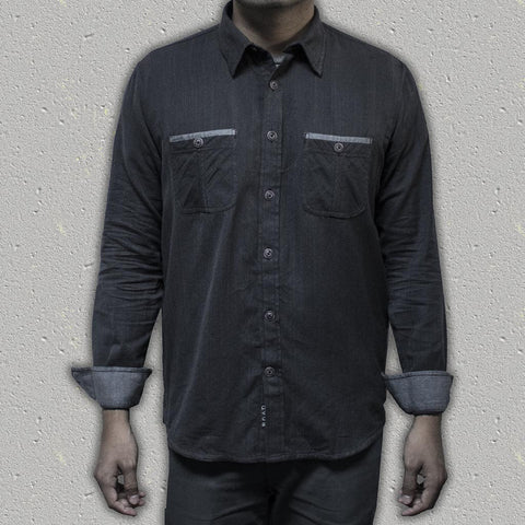 BALOR (Black) - 100% Cotton Herringbone Long-Sleeve Shirt (Slim Fit)