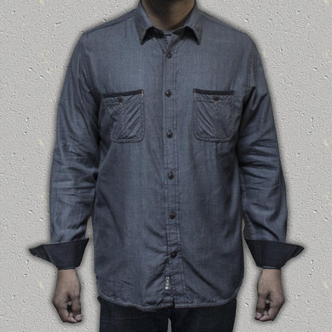 BALOR (Grey) - 100% Cotton Herringbone Long-Sleeve Shirt (Slim Fit)