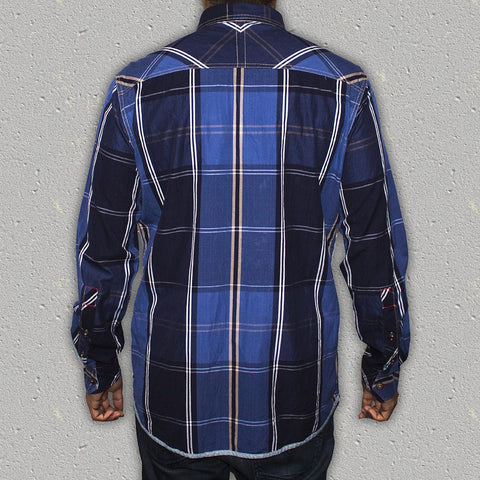 OWENS - 100% Yarn-Dye Cotton Long Sleeve Plaid Shirt (Slim Fit)
