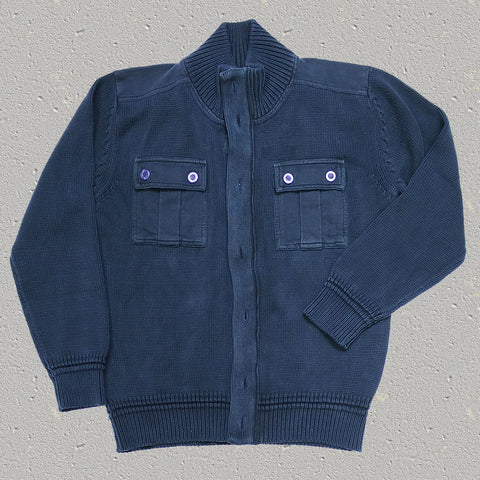 ROONEY (Midnight Navy) - 100% Cotton Knit Sweater/Jacket