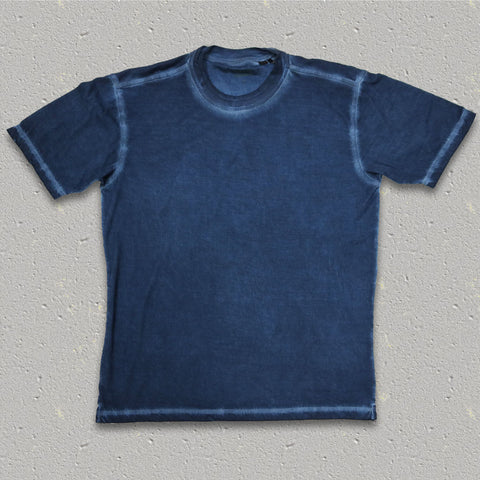 GENE (Indigo) 100% Pima Cotton Double Crew Neck T-Shirt