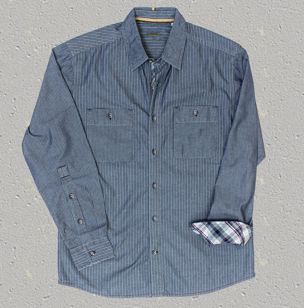LANGDON - 100% Cotton Indigo Stripe - Long Sleeve Shirt