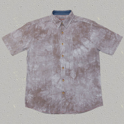 RAFI (Gravel) - 100% Cotton Tye Dye Slub Short Sleeve Shirt