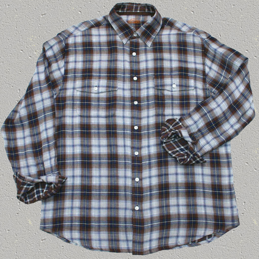 HUTTON - 100% Cotton Long Sleeve Plaid Shirt