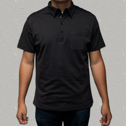 LEROY (Black) 100% Cotton Pigment Dye Knit Short Sleeve Shirt