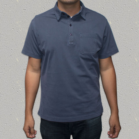 LEROY (Indigo) 100% Cotton Pigment Dye Knit Short Sleeve Shirt