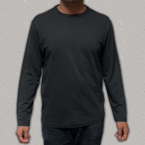 ACE (Black) - 100% Cotton Knit Long Sleeve Crew Neck