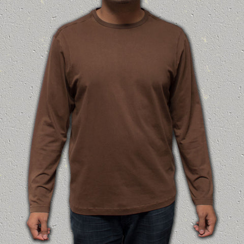 ACE (Cocoa) - 100% Cotton Long Sleeve Crew Neck Knit