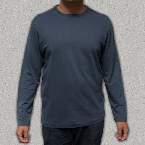 ACE (Indigo) - 100% Cotton Knit Long Sleeve Crew Neck